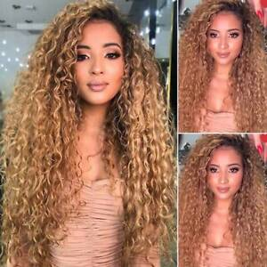 Women Synthetic Ombre Blonde Long Curly Wigs Natural Full Wavy Hair Cosplay Wig.