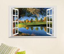 3D Landschaft Fenster Wandsticker Wandtattoo See Bäume Wandaufkleber Aufkleber