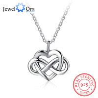 Infinity Heart Necklace - 925 Sterling Silver - Charm Love Gift Girlfriend NEW