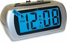 ACCTIM AURIC SILVER LCD BATTERY ALARM CLOCK WITH SNOOZE AND BACKLIGHT
