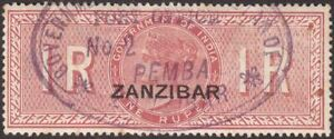 Zanzibar 1892 QV Revenue Overprint on India 1r Red Used Fiscal PEMBA Port Office