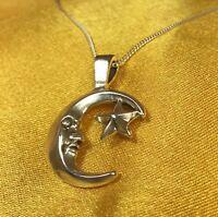 "925 Fine Sterling Silver Moon Pendant W/18"" Chain Necklace"