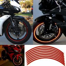"Rim Stickers RED Reflective Tape 6mm 17"" Motorcycle Motorbike FREE SPARE STRIPS"