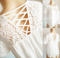 NEW Forever21 Ivory White Floral Lace Yoke Laced-Up Trapez Crop Gauzy Blouse Top