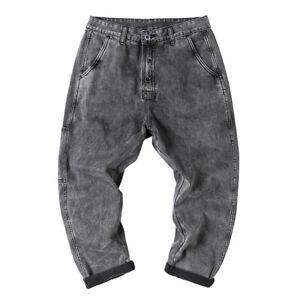 Men Vintage Jeans Straight Leg Denim Pants Slim Work Casual Trousers Grey