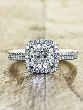 Certified 2.95ct White Cushion VVS1 Diamond Engagement Ring in 14K White Gold