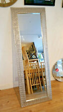 Moroccan Silver Metal Wall Cheval Standing Mirror Tradional Frame 170x60cm