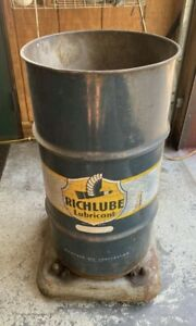 Vintage Mobile Mobilube Oil Drum Barrell Can Trash Can 1950's Pegasus
