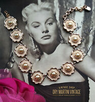 VINTAGE 1950s GOLD TONE DAISY PEARL STATEMENT CHOKER NECKLACE FRANCE BRIDAL GIFT