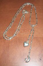 "Ball Chain with Heart and Moon Dangles Vintage Dainty 21""  Necklace"
