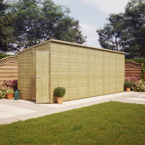18x6 Pressure Treated Pent Garden Shed Windowless Gable End Door LEFT END 18x6'