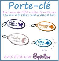 Porte Clé avec Nom de Bébé + Date de Naissance Cadeau Baby Keychain Gift Enfant