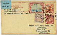 USA 1929: Zeppelin Mail Lakehurst to Wien, 4 Stamps