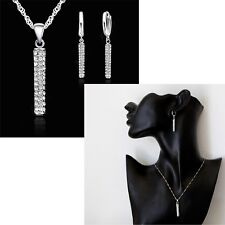925 Silver Crystal Stone Stud Tassel Bar Necklace And Earring Jewellery Gift Set
