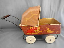 VINTAGE WYANDOTTE TIN LITHO TOY BABY DOLL CARRIAGE PRAM DOG DUCK BABY AND CAT