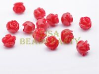 30pcs 8mm Flower Rose Synthetic Coral Loose Spacer Beads Findings Red