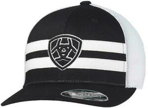 Ariat Mens Flexfit Shield Logo Mesh Adjustable Snapback Cap Hat (Black/White)