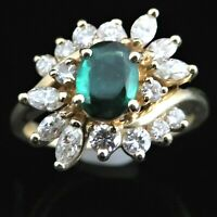 Estate Diamond Emerald 14k Yellow Gold Cocktail Ring May Birthstone Bypass Gift