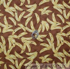BonEful Fabric Cotton Quilt Brown Yellow Banana Monkey Baby Boy Girl Food SCRAP