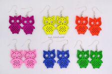 FREE wholesale lots Bulk 6pairs Owl Animal carve wood pendant silver P earrings