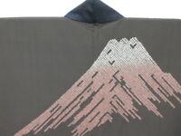 Men's Indigo Silk Japanese OHSHIMA TSUMUGI HAORI w/SHIBORI Mt.FUJI K965