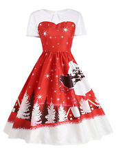 Women'S Christmas Party Vintage Dress Santa Claus Deer Print Retro Swing Dress