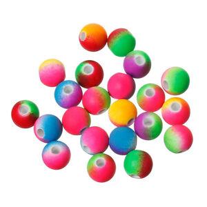 100 Acrylic Rainbow rubberised Neon Beads 8mm Random Mix