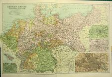 1912 LARGE ANTIQUE MAP ~ GERMAN EMPIRE WITH NETHERLANDS & BELGIUM HAMBURG BERLIN
