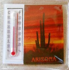 """2 thermometer Magnets 2"""" Saguaro Cactus Arizona Sunset 2 for the price of 1"""