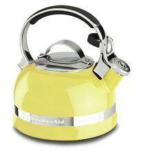 KitchenAid 2-Qt Steel Handle Band Tea Kettle Whistle KTEN20SBis Citrus Sunrise