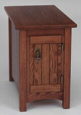 #911 Solid Oak Storage Mission Lamp Table
