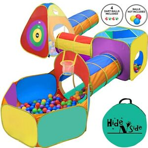 Hide N Side 6pc Kids Ball Pit Basketball Tent Tunnel Toy w/ Bag! FREE EXP SHIP!!