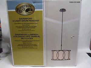 Hampton Bay Davenport 3-Light Oil-Rubbed Bronze Metal Overlay Drum Pendant