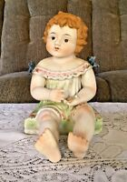 "Antique German 12"" Bisque Piano Baby Strawberry Blonde Hair & Green Dress"