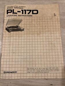 Pioneer PL-117D Turntable Operating Instruction Manual