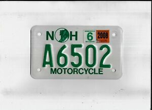 """NEW HAMPSHIRE 2008 license plate """"A6502"""" ***MOTORCYCLE***"""