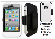 iPhone 4 4S White Case Cover Screen Protector (Fits Otterbox Defender Belt Clip)