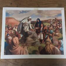 C1950 Vintage Enid Blyton Bible Picture Poster The Miracle on the Hillside
