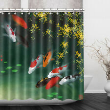 "72X72"" Koi Fish Pond Flower Bathroom Decor Fabric Shower Curtain Liner w/Hooks"