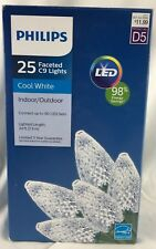 New 25ct Philips Cool White Led Faceted C9 String Lights Green Wire Energy Saver