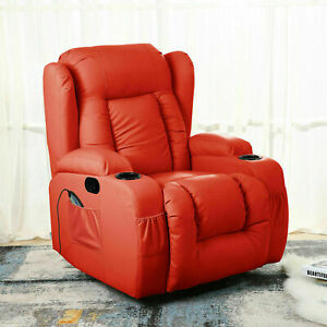 Leather Recliner Electric Massage Chair Rocking Winged Heated 10 In 1 Armchair