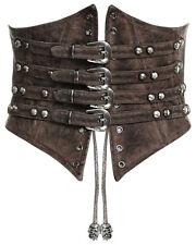 Punk Rave Steampunk Corsé Gótico Marrón Reductora Busto Faja Cinturón de imitación de cuero