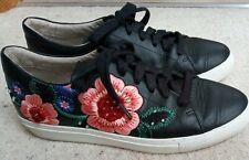 Skechers Black Memory Foam Trainers / Pumps Real Genuine Leather Size 5 Floral