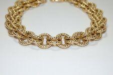Beautiful Veronese 18k Gold Vermeil Sterling Silver Ornate Double Link Bracelet