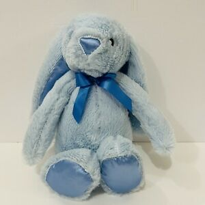 The Petting Zoo Plush Bunny Rabbit Baby Blue Satin Ear Nose Feet Stuffed Animal
