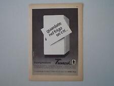 advertising Pubblicità 1962 COMPRESSORE FRIGORIFERO TECUMSEH ASPERA FRIGO