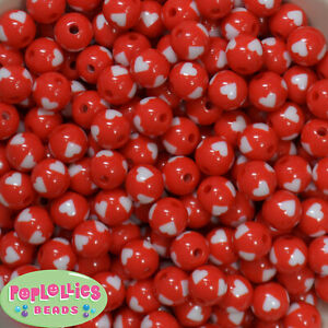 12mm Red and White Heart Resin Bubblegum Beads Lot 40 pc. chunky gumball