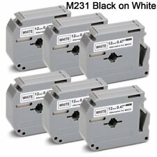 JetSir M-231 MK231 M-K231 Label Tape Cartridge 6-Pack,Use on Brother P-Touch on