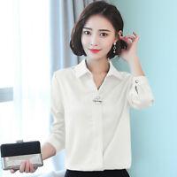 Ladies Satin Faux Silk Shirt Top Blouse Long Sleeve V Neck Formal Shiny Elegant