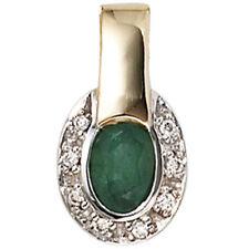 Anhänger bicolor oval 1 Smaragd 8 Diamanten Brillanten 585 Gold Gelbgold 25985